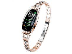Умные часы фитнес браслет Finow H8 с тонометром Золотой