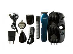 Аккумуляторный Триммер для Стрижки Волос Тела, Бороды, Носа, Ушей, Головы Kemei KM 550 8в1 (10039)