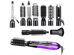 Прибор для укладки волос Gemei 10в1 стайлер многофункциональный со сменными насадками 1000 Вт Чёрно-фиолетовый (GM-4835)