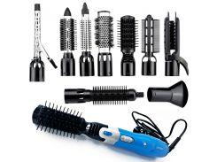 Прибор для укладки волос Gemei 10 в 1 стайлер многофункциональный 9 сменных насадок 1000 Вт Чёрно-синий (GM-4833)
