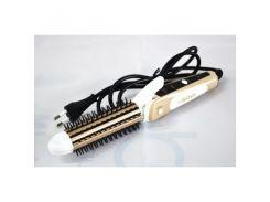 Стайлер 3 в 1 Плойка, гофре, выпрямитель, утюжок для волос с расческой Nova Professional NHC-8890 Золотистый (hub_SuCp59817)