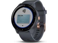 Смарт-часы Garmin Vivoactive 3 Music with Rose Gold Hardware Granite Blue (010-01985-32)