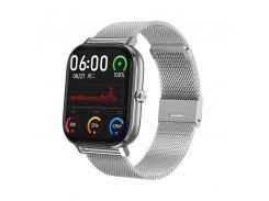 Смарт-часы MobiBron DT35 Silver - Железный ремешок (Bluetooth 4.0, ЭКГ, IP67, Вызовы)