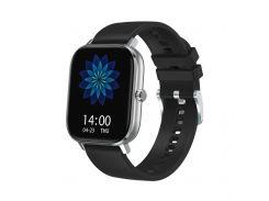 Смарт-часы MobiBron DT35 Silver - Черный Силиконовый ремешок (Bluetooth 4.0, ЭКГ, IP67, Вызовы)