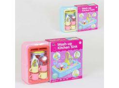 Игровой набор Кухонная раковина с водичкой XS 18103-2 (12) течет вода, подсветка, звук, посудка, в коробке
