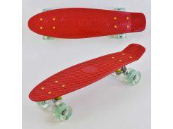 Скейт Пенни борд 8080 (8) Best Board, КРАСНЫЙ, СВЕТ, доска=55см, колёса PU d=6см