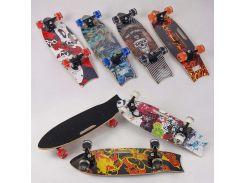 Скейт С 32026 (6) 5 видов,дека с ручкой, доска=70см, колёса PU СВЕТЯЩИЕСЯ, d=6см
