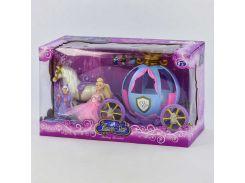 УЦЕНКА Карета с куклой 205 А (12) звуковые и световые эффекты, в коробке СЛОМАНО ЗАДНЕЕ КОЛЕСО