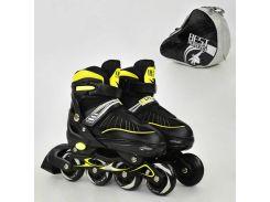 """Ролики 5700 """"L"""" Best Roller цвет-ЖЕЛТЫЙ /размер 39-42/ (6) колёса PU, в сумке d=7 cм"""
