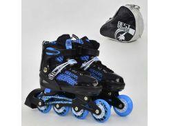 """Ролики 5800 """"L"""" Best Roller /размер 39-42/ цвет-СИНИЙ (6) колёса PU, переднее колесо свет, в сумке d=7cм"""