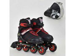 """Ролики 8902 """"М"""" Best Roller цвет-ЧЁРНЫЙ /размер 35-38/ (6) колёса PU, без света, в сумке, d=7см"""