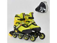 """Ролики 8903 """"L"""" Best Roller цвет-ЖЁЛТЫЙ /размер 39-42/ (6) колёса PU, без света, в сумке, d=7.6 см"""