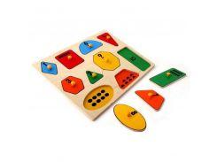 Рамка-вкладыши Геометрические фигуры математика Lam Toys 10 деталей
