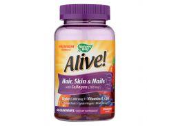 Витамины для волос, кожи и ногтей с коллагеном (Alive Skin, Nails, Hair with Collagen) со вкусом клубники 60 жевательных таблеток