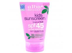 Детский солнцезащитный крем SPF 45 (Kids Sunscreen), тропические фрукты, 113 г