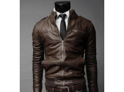 Мужская куртка из экокожи р48 коричневая