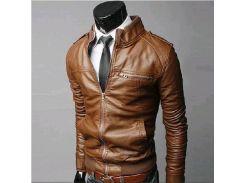 Мужская куртка из экокожи р44 светло-коричневая
