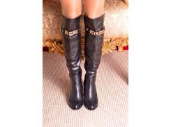 Женские сапоги на каблуке р37 черные