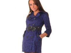 Пальто с поясом р46 фиолетовое