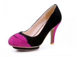 Туфли на каблуке р37 черно-розовые