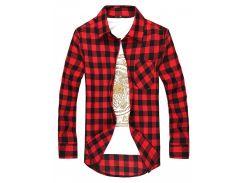 Рубашка в клетку рXL красная