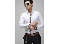 Рубашка мужская с кантом рM белая