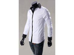 Рубашка мужская со вставками рM белая