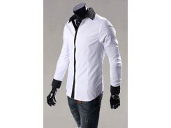 Рубашка мужская со вставками на воротнике рXL белая