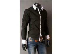 Рубашка мужская со вставками рL черная