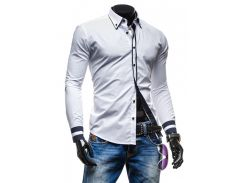 Рубашка мужская с синими вставками рS белая