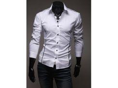 Рубашка мужская с декоративными вставками рS белая