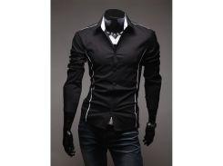 Рубашка мужская приталенная со вставками рL черная