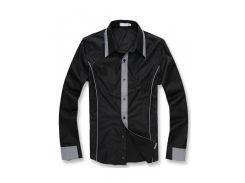 Классическая рубашка с округлым низом рS черная