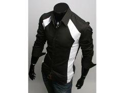 Рубашка мужская сдекорированными вставками рL черная
