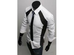 Рубашка мужская  с декорированными вставками рS белая