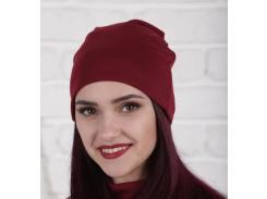 Трикотажная шапка One Size бордовая