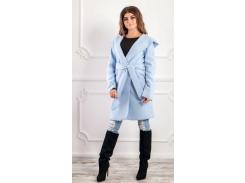 Пальто с капюшоном NB18034 р46 голубое