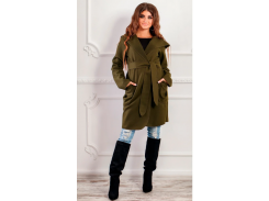 Пальто с капюшоном NB18034 р46 хаки