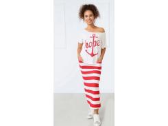 Женский костюм в полоску Fashion Woman GF000728 бело-красный р42/44