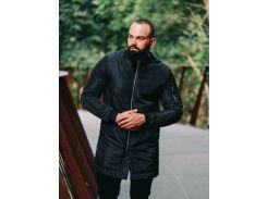 Мужская демисезонная удлиненная куртка B45578 рS черная
