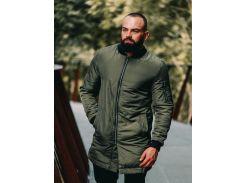 Мужская демисезонная удлиненная куртка B45578 рXL хаки