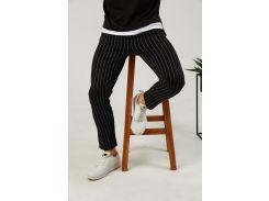 Мужские брюки Fashion Man BD0207 черные в полоску рS