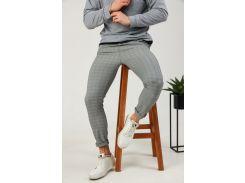Мужские брюки Fashion Man BD0207 светло-серые в клетку рL