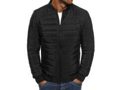Мужская куртка демисезонная стеганная BD7845 рS черная