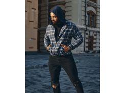 Мужская ветровка Fashion Man BD02010 синяя в клетку рL
