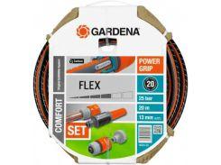 "Шланг Gardena Flex 9x9 (1/2"") 20 м: комплект (18034-20.000.00)"