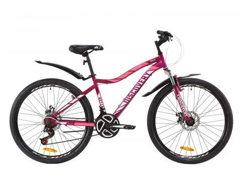 "Велосипед ST 26"" Discovery KELLY AM DD рама-13,5"" черно-малиновый с голубым с крылом Pl 2020 (OPS-DIS-26-252) Сумы"