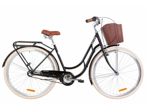 """Велосипед ST 28"""" Dorozhnik RETRO планет. рама-19"""" черный с багажником зад St, с крылом St, с корзиной Pl 2020 (OPS-D-28-188) Сумы"""