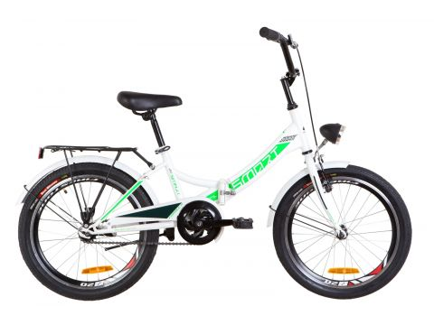 """Велосипед 20"""" Formula SMART 14G рама-13"""" St бело-зеленый с багажником зад St, с крылом St, с фонарём 2019 (OPS-FR-20-040)"""