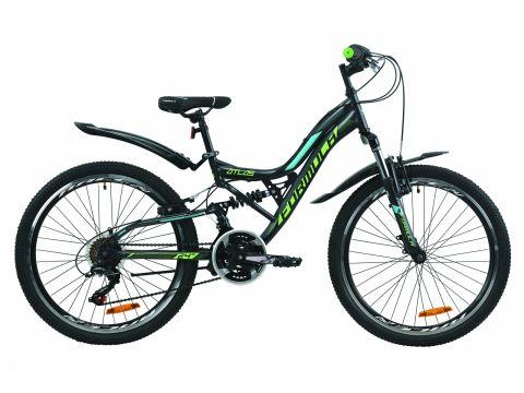 """Велосипед ST 24"""" Formula ATLAS AM2 Vbr рама-14"""" антрацитово-зеленый с бирюзовым (м) с крылом Pl 2020 (OPS-FR-24-195)"""